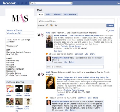 mas facebook, become a fan of mas, manhattan aesthetic surgery, nicholas vendemia md
