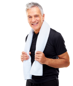 Portrait of relaxed mature guy holding towel around his neck on white background